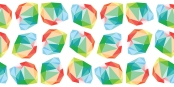 rainbow heart logo in a repeated pattern