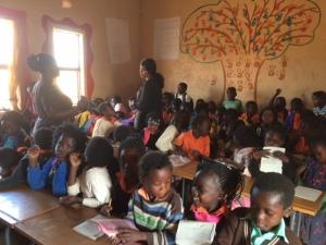 school in zambia full of children