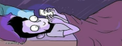 man on couch with laptop, text says: oh man it's 3 in the morning I should really get off the computer and go to bed. the next panel shows the man in bed on his phone still