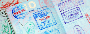 a passport with many visa stamps on it